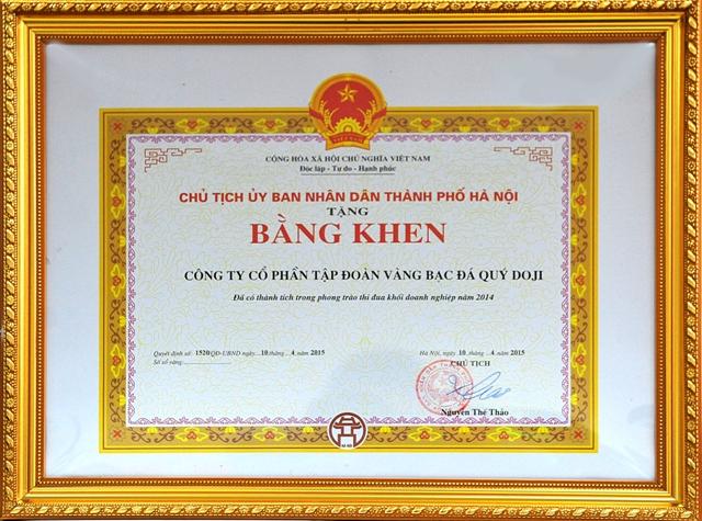 Tập đoàn vàng bạc đá quý Doji và Chủ tịch Đỗ Minh Phú đón nhận Bằng khen của Chủ tịch UBND Tp.Hà Nội