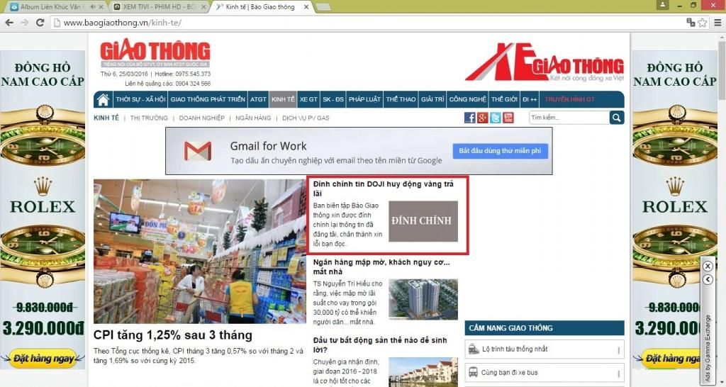 Noi dung Dinh chinh tren Báo Điện tử Giao thong